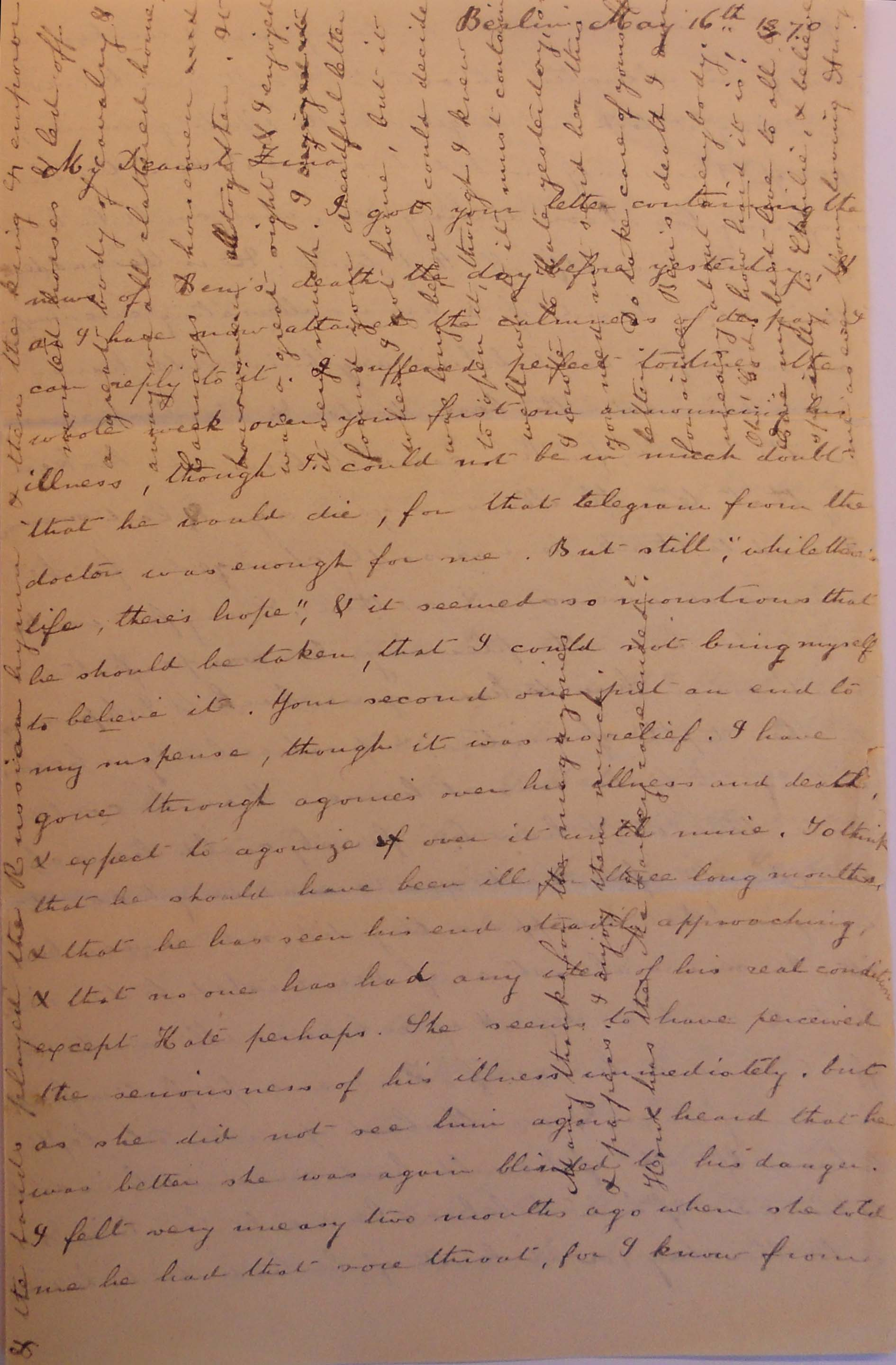 Letter from Amy Fay to her sister Zina, 16 05 70
